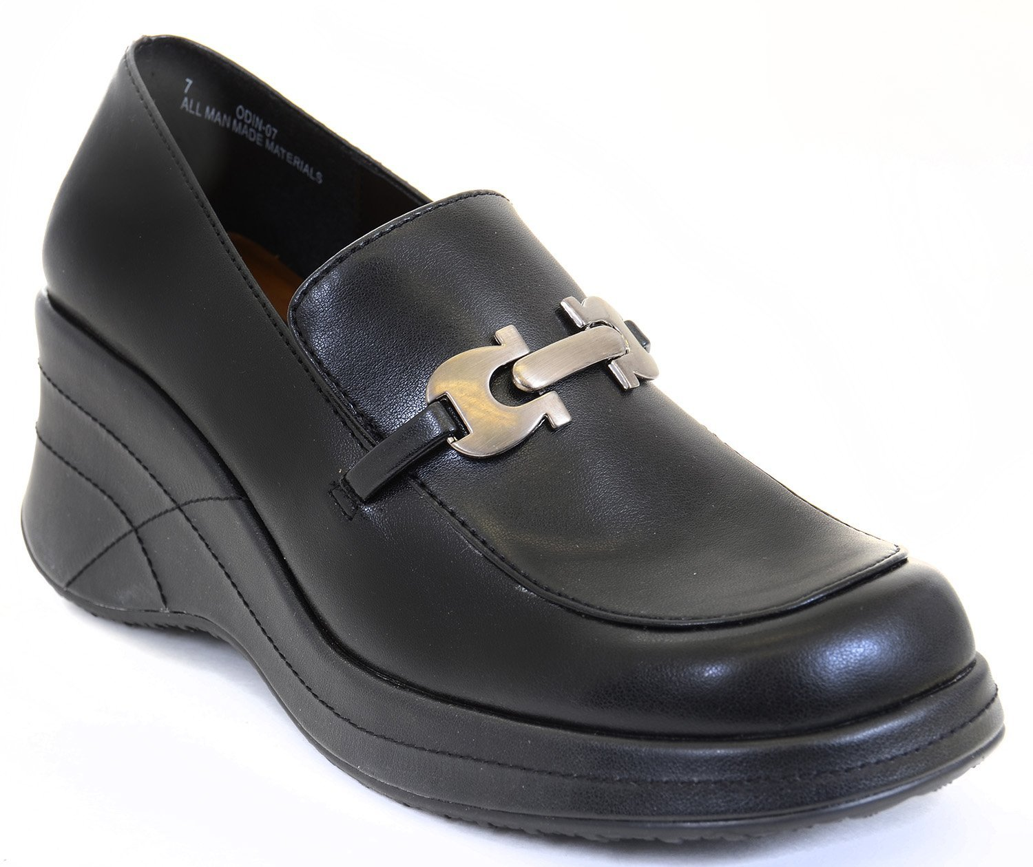 funky wedge chain black slip on loafer work shoes ebay