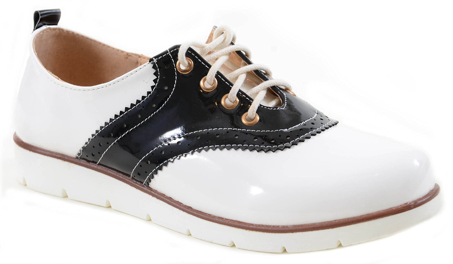 black white saddle oxford lace up s vegan shoes ebay