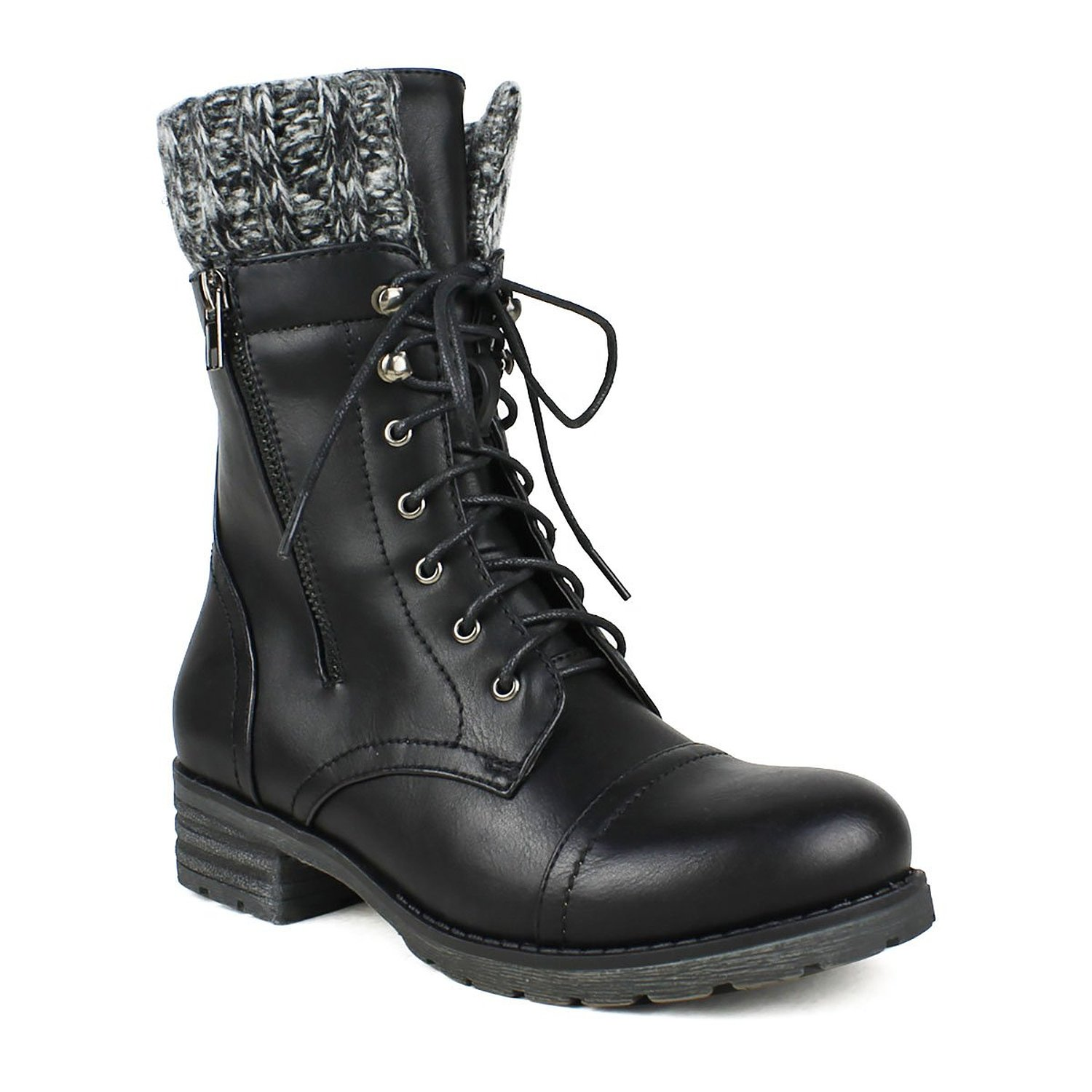 cozy sweater cuffed combat lace up vegan leather boots ebay