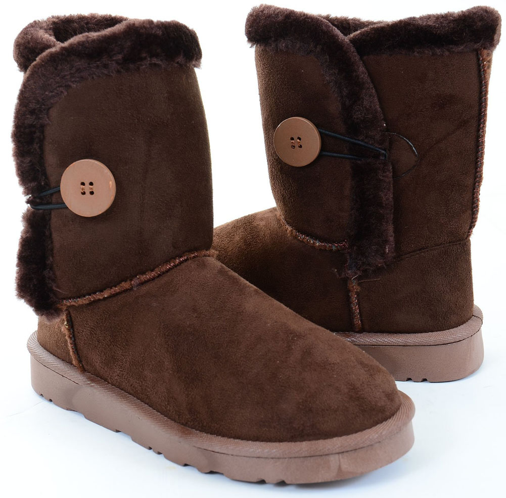 button brown faux fur shearling mid calf flat ankle boots